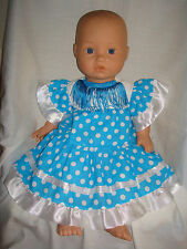"Handmade Blue/White S Spanish Flamenco Dress.  Fit  Baby Annabell 16/18"" Doll"