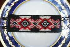 BEAUTIFUL LARGE NATIVE AMERICAN INDIAN STYLE SMALL BEAD BRACELET IN RED & BLACK