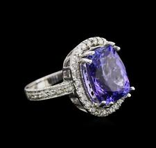 9.26 ctw Tanzanite and Diamond Ring - 14KT White Gold Lot 544