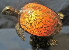 Sea Turtle amber Mosaic Glass & Resin Lamp Nautical Home Decor