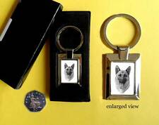 Alsatian/ German Shepherd Dog Rectangular Chrome Plated Keyring Boxed Gift