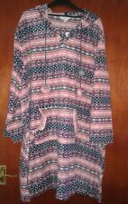 Pink Aztec design microfleece hooded nightie & kangaroo pocket plus size 16/18