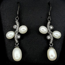 Natural Creamy White PEARL & White Cubic Zirconia 925 STERLING SILVER EARRINGS
