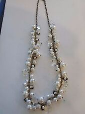 CHLOE faux Pearl and Crystal Drops Long Necklace