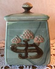 Vintage Ceramic Biscuit Jar Pink Water Flower Green multi-tone 10268