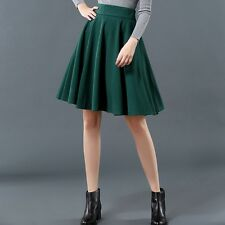 Women High Waist Wool Winter Maxi Full Circle Midi Skirt Hepburn Ball Gown Dress