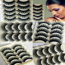 5 Pairs of Thick Natural Black Fake False Eyelashes Eye Lashes Makeup with Glue