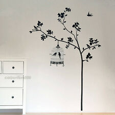 Tree And Bird Cages Wall Stickers Art Decal Vinyl Paper Removable Home DIY Decor