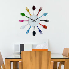 Home Decoration Colourful Kitchen Cutlery Spoon and Fork Wall Art Clock