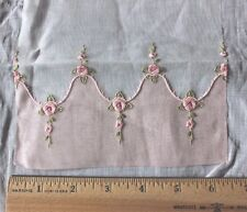 Exquisite Antique Swiss Tiny Doll Scale Pink Rose Embroidery Sample c.1920~Dolls