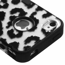 iPHONE 4 4G 4S -HARD&SOFT RUBBER DUAL HYBRID HIGH IMPACT CASE BLACK GREY LEOPARD