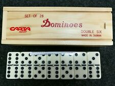 Double Six Club Pub League Dominoes with Spinners - Set of 28 in Wooden Box.