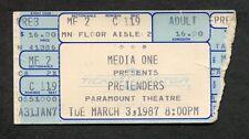 1987 Pretenders concert ticket stub Paramount Chrissie Hynde Get Close Tour