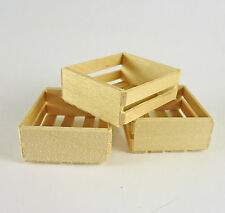 Dollhouse Miniature Set of 3 Wooden Crates, Small