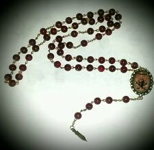 """Se7en Deadly """"Poison"""" Antiqued Cranberry Beaded Rosary Necklace Gothic Pinup"""