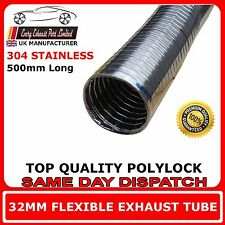 "32mm 1""1/4 Universal Flexible Exhaust Repair Tube Polylock Stainless Steel 0.5M"