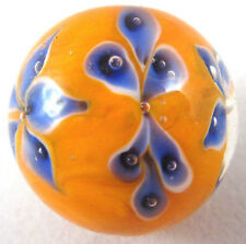 "22mm MORNING GLORY flower Handmade art glass orange Marble ball 7/8"" SHOOTER"