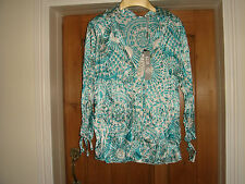 bnwt marks and spencer per una green white satin crinkle top blouse 14 £29.50