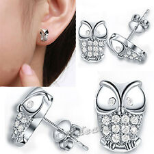 Korean Fashion Crystal Cute OWL Ear Stud Silver Plated Earrings