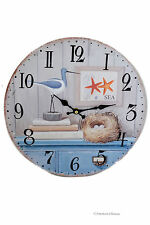 "13"" Large Wood Vintage-Style Cape Cod Nautical Sea Beach Wall Clock"