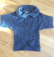 NEW LOOK Ladies Chunky Blue Cable Knit Short Sleeve Cardi - Size 10 - EXC COND