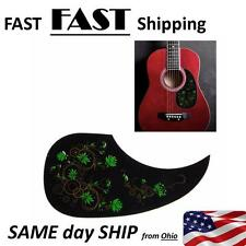 Celluloid Pickguard Scratch Plate For Acoustic Guitar Self Adhesive Green Flower