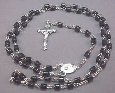 Rosary Necklace Tube Beads Chain Silver Tone Crucifix Center DEEP BLACK Nice!