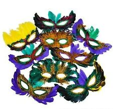 50 (Fifty) Pack of Mardi Gras Masquerade Party Feather Fantasy Masks(Assorted...