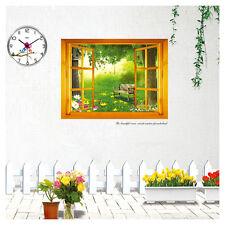 Wandtattoo Wandaufkleber 3D Fenster Wald  Blumen Wohnzimmer Schlafzimmer