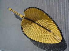 Corbeille en scoubidou jaune et noir d'époque Vintage