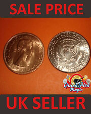 COPPER SILVER HALF TRANSPOSITION MAGIC TRICK COIN / COIN MAGIC ILLUSION