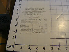 Vintage ORIGINAL paper: KINGSTON ACADEMY 1862 paper Winer Term supplies