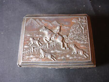 Old Vtg Antique Pressed Steel Trinket Container Box with Fox Hunting on Front