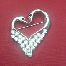 Summer Special Stunning Diamonte Silver Plated Heart Brooch Cake Pin Love GIFT