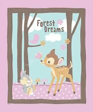 "Disney's Bambi Forest Dreams Quilt top 100% cotton 43/44"" Fabric by the panel"