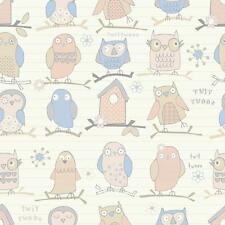 DEBONA TWIT TWOO OWL BIRD MOTIF STRIPED CHILDRENS METALLIC WALLPAPER BEIGE
