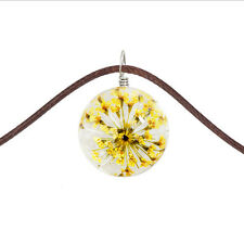 Fashion Transparent Crystal Ball Glass Dried Flower Necklace Pendant Yellow 1pcs