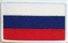 Russian Federation Flag Embroidery Iron-On Patch Russia Emblem White Border