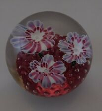 Murano Fratelli Toso Floral Bouquet 3 flower dew drops Art Glass  Paperweight