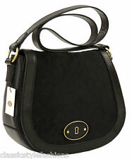 New Authentic Fossil VRI Crossbody Black Cowhide Handbag  MSRP $218