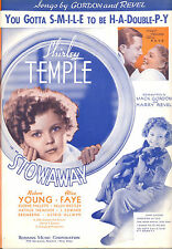 """STOWAWAY Sheet Music """"You Gotta SMILE To Be H-A-Double P-Y"""" Shirley Temple."""