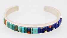 Native American Zuni Handmade Sterling with Multi-Stone Inlay Corn Row Bracelet