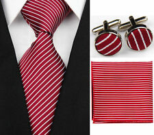 Red 100% Pure Silk Neck Tie Cufflinks & Handkerchief SetWith White Stripes