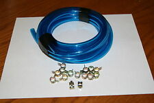 "3/16"" Fuel Line Carb Clear 5mm Drain Vent Hose Moped Scooter 5 FT+15 CLAMPS Blue"