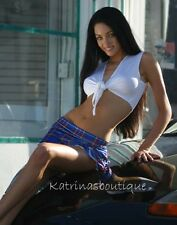 Schoolgirl Tie Top & Blue Plaid Skirt/Stripper/Cosplay/Costume/Made in usa//s-m