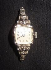 ANTIQUE ART DECO 14KT WHITE GOLD & DIAMOND BULOVA 23 WOMAN'S WRISTWATCH-TLC