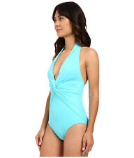NWT Michael Kors Swimsuit 1 one piece  Sz 14 Deep-V Twist Maillot Turquoise