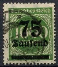 Germany 1923 SG#284, 75T On 1000m Yellow-Green Used #A85062