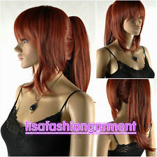 Fashion Ladies wig red brown short straight cosplay wig + one ponytails For wig