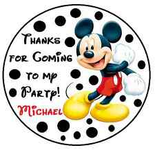 24 Round MICKEY MOUSE BIRTHDAY THANK YOU FOR COMING TO MY PARTY STICKERS FAVORS
